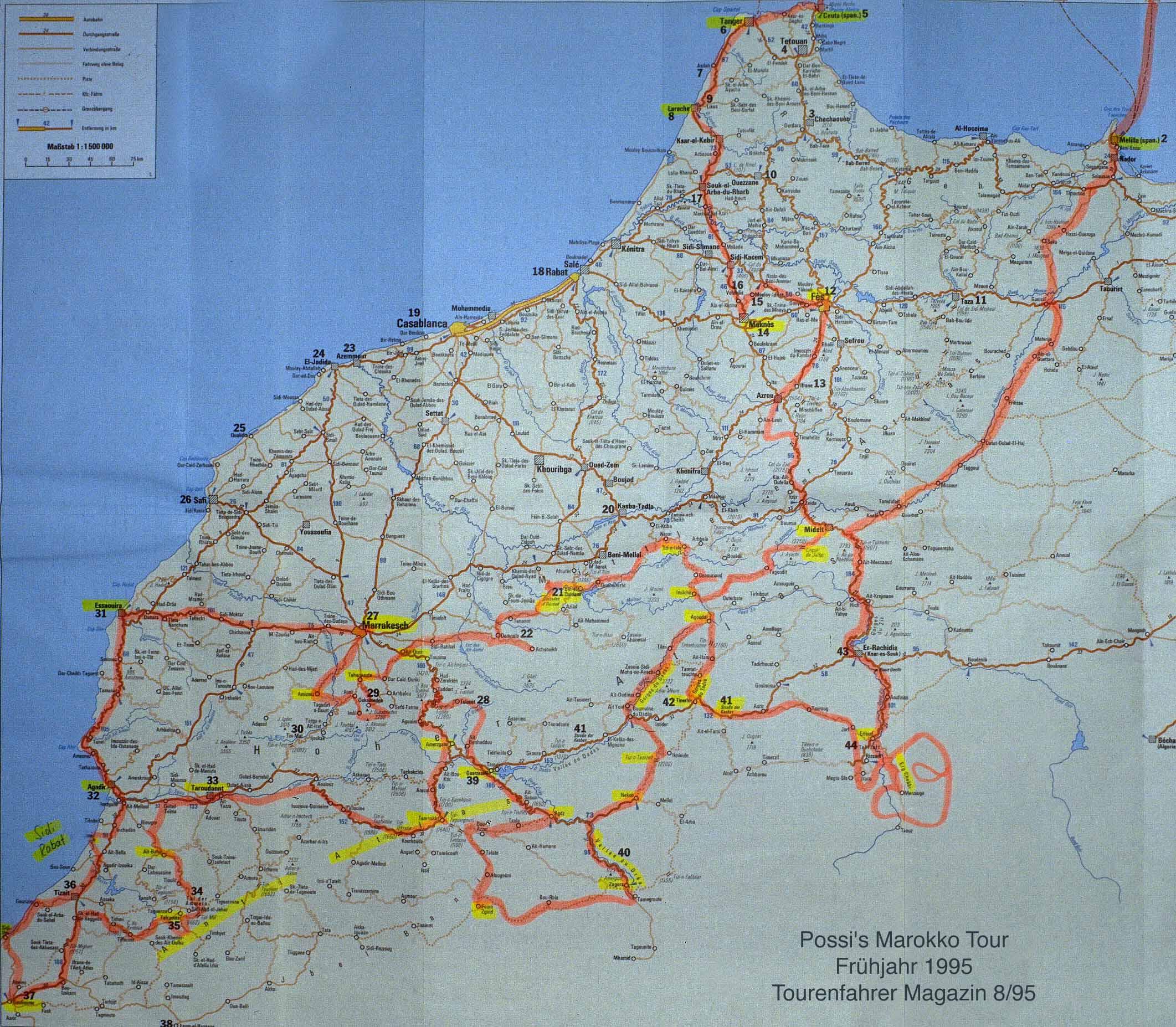 Grote Marokko landkaart